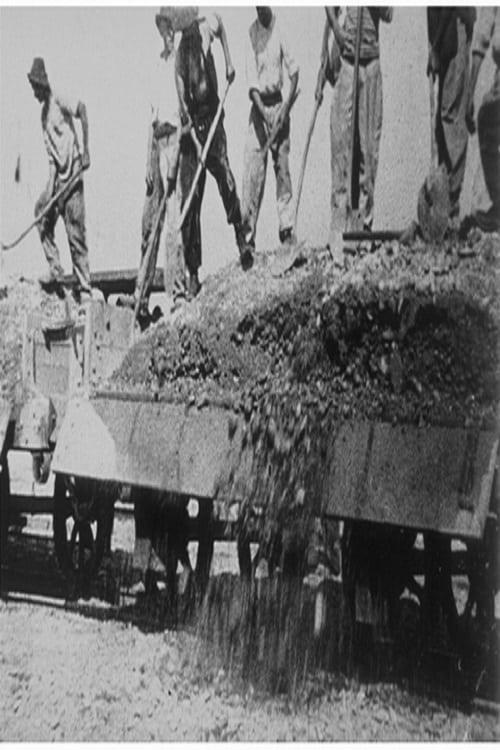 Arrivée et déchargement d'un train de gravier